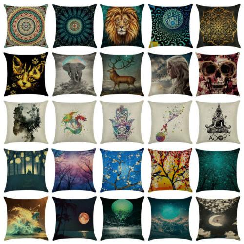 art cotton linen pillow case sofa waist