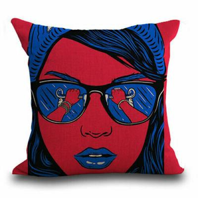ART Sofa Decor Cotton Linen Pillow Case Throw