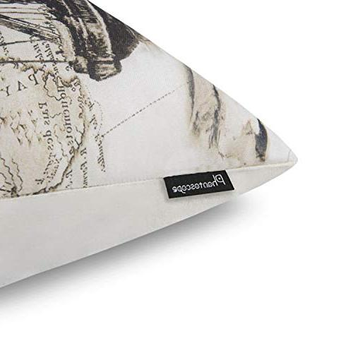 Phantoscope Beige Decorative Map Pillow Cushion x