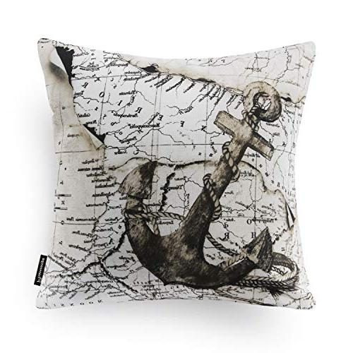 "Phantoscope Set of Beige Map Pillow Csae 18"" 45cm x"