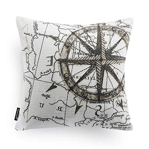 "Phantoscope Set Beige Decorative Series Map Throw Pillow 18"" x 45cm"