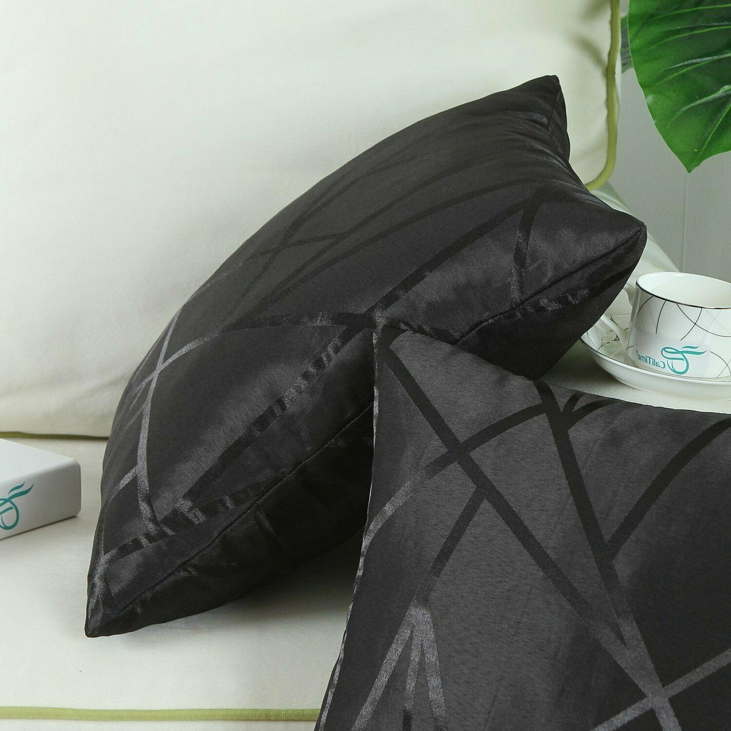 Black Throw Pillow Covers - Modern Abstract, Calitime of 2