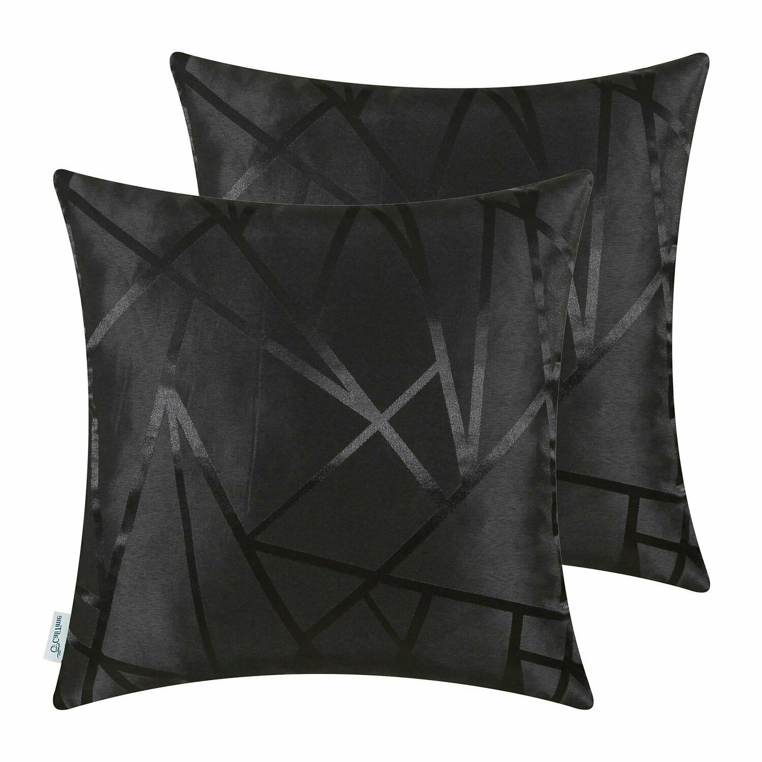 black throw pillow covers modern contrast abstract