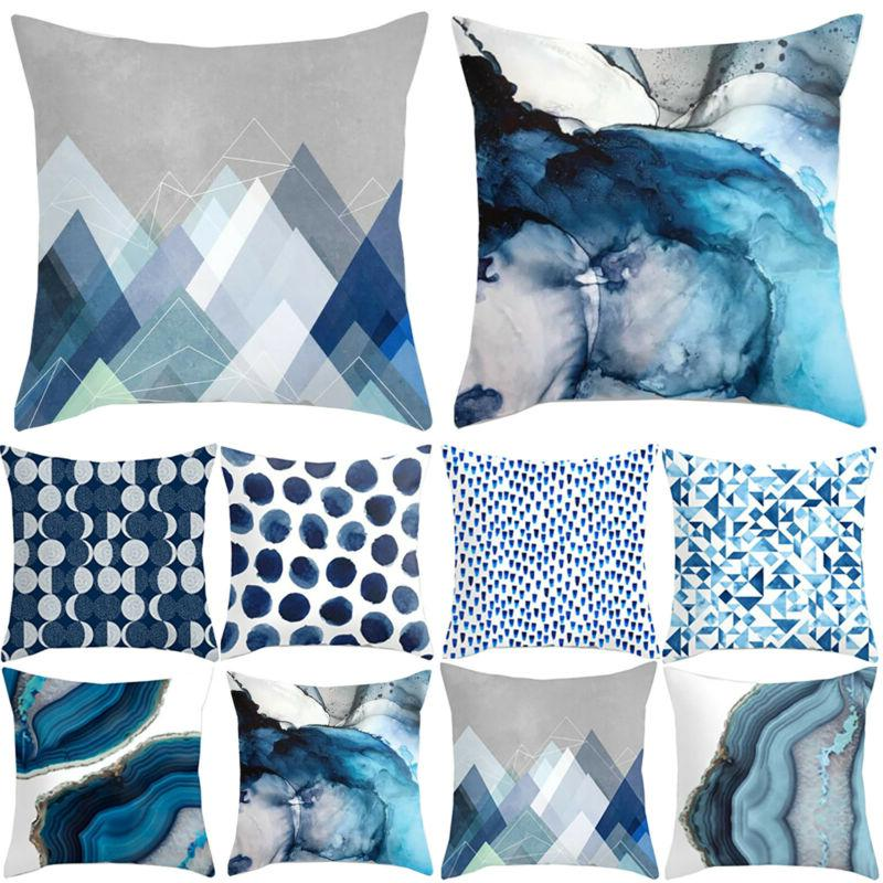 Blue Simple Pattern Cases Sofa Throw Home Decor