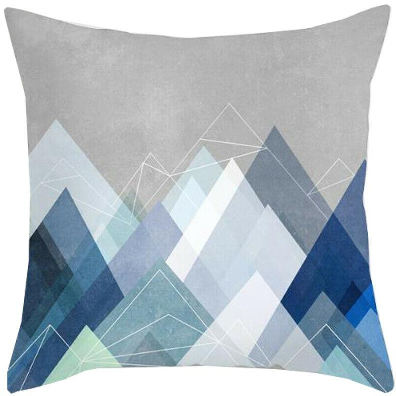 Blue Pattern Pillow Cases Throw Cushion Cover Decor