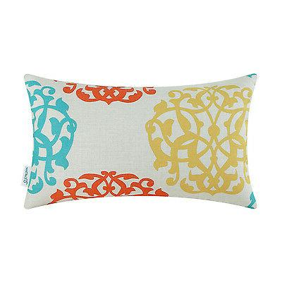 CaliTime Bolster Throw Pillows Case Cover Floral Geometric