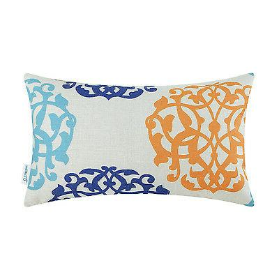 CaliTime Bolster Cushion Throw Pillows Case Covers Floral Ge