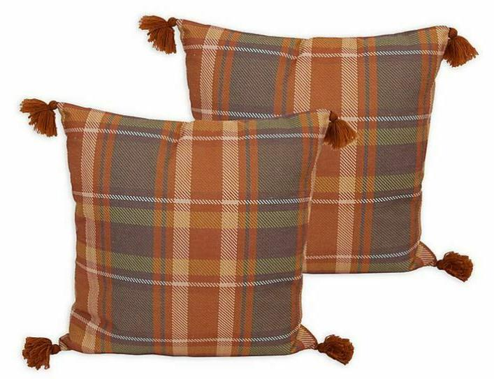 brent plaid w pillows in umber set