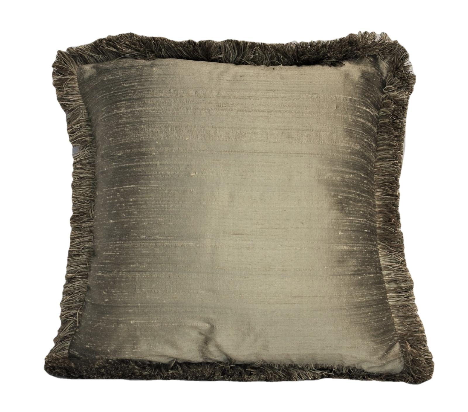 bronze silk square pillows with fringe for couch