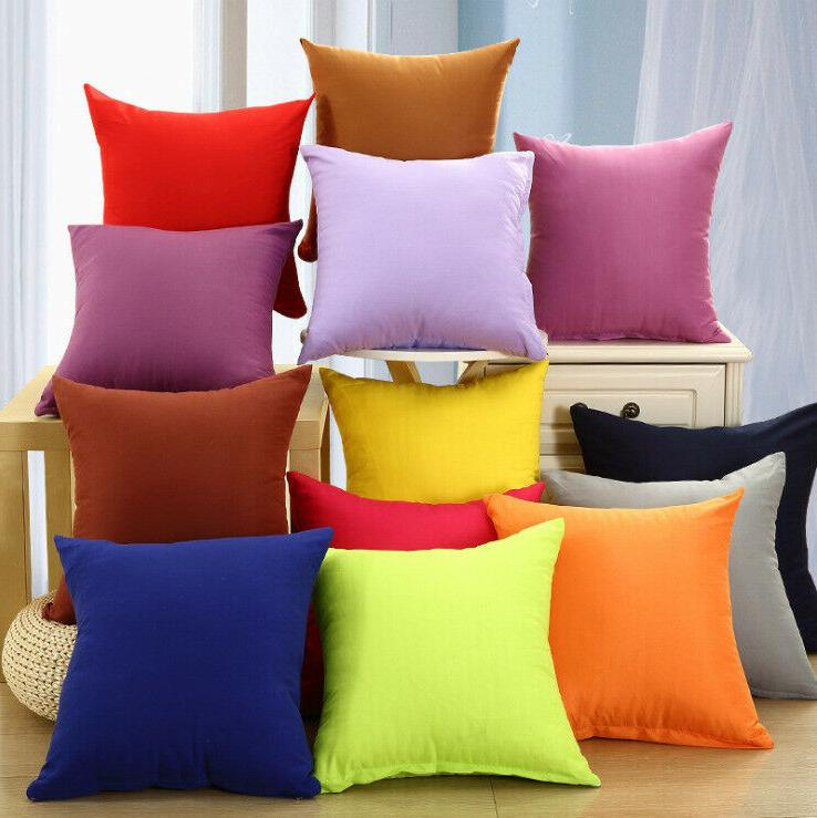New Candy Colors Cotton Throw Pillowcase Home Sofa Cushion D