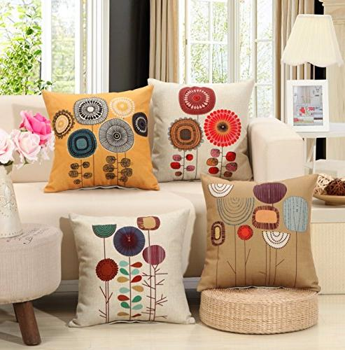 TongXi Cartoon Flowers Pattern Cushion Decorative Pillows inches Pack 4