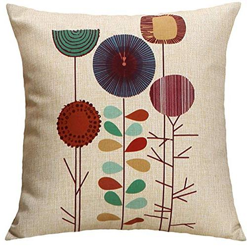 TongXi Cartoon Flowers Pattern Cushion Throw Pillows For Sofa 18x18