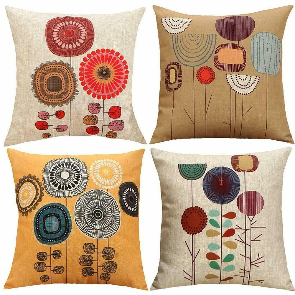 cartoon flowers pattern cushion covers