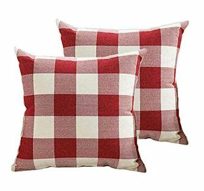 4TH Emotion Christmas Throw Pillow Covers 18x18 Inch Red Whi