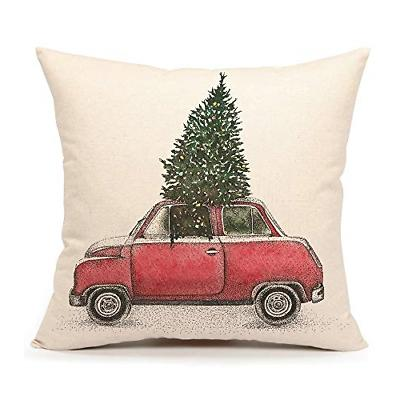 christmas tree and red car throw pillow