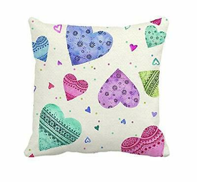 colorful love hearts throw pillow cover cushion