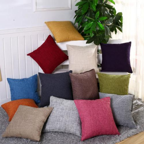 Cotton Linen Pillow Case Sofa Waist Throw Cushion Solid Cove