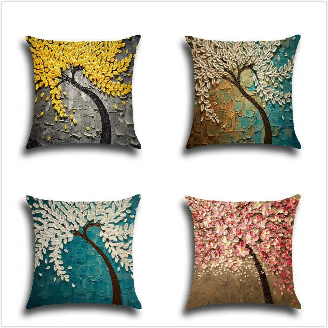Cotton Square Decorative Throw Pillow Case Sofa Cushion