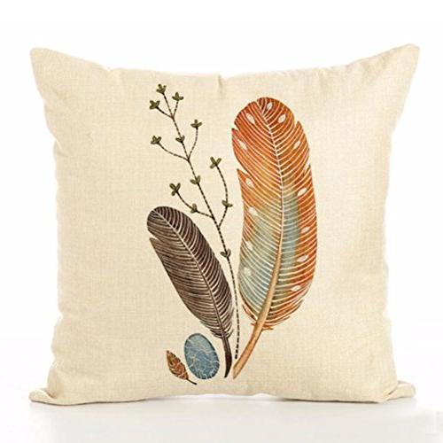 ULOVE LOVE Linen Pillow Feathers Print Square Cushion Cover 18 X Inch Pillow,4