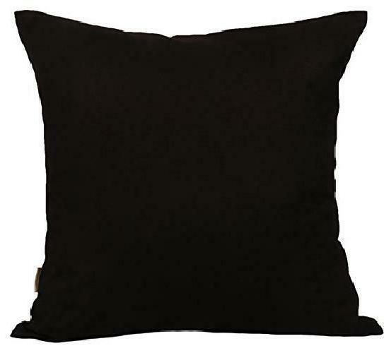 "TangDepot Cotton Solid Throw Pillow Covers, 12"" x 12"" , Blac"