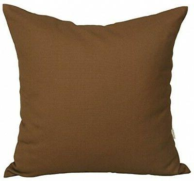 TangDepot Cotton Solid Throw Pillow Covers, 20 x 20 , Coffee