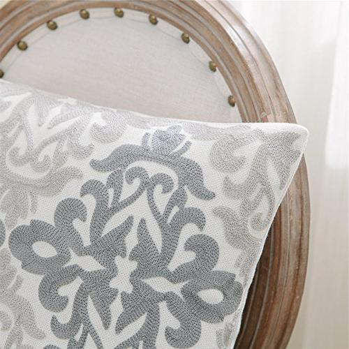 HWY 50 Linen Embroidered Throw Covers Cushion for Sofa Living Decor Geometric Elegant 18 18 inches Pack of