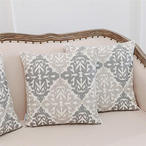 HWY Linen Grey Embroidered Decorative Throw Covers Sets for Couch Sofa Bed Living 18 x inches Pack