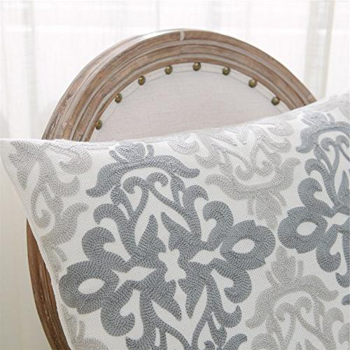 HWY 50 Linen Embroidered Decorative Covers Sets Cushion for Couch Living Decor Geometric 18 x Pack of