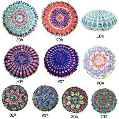 Cover Large Cushion Throw Bohemian Case Round Pouf