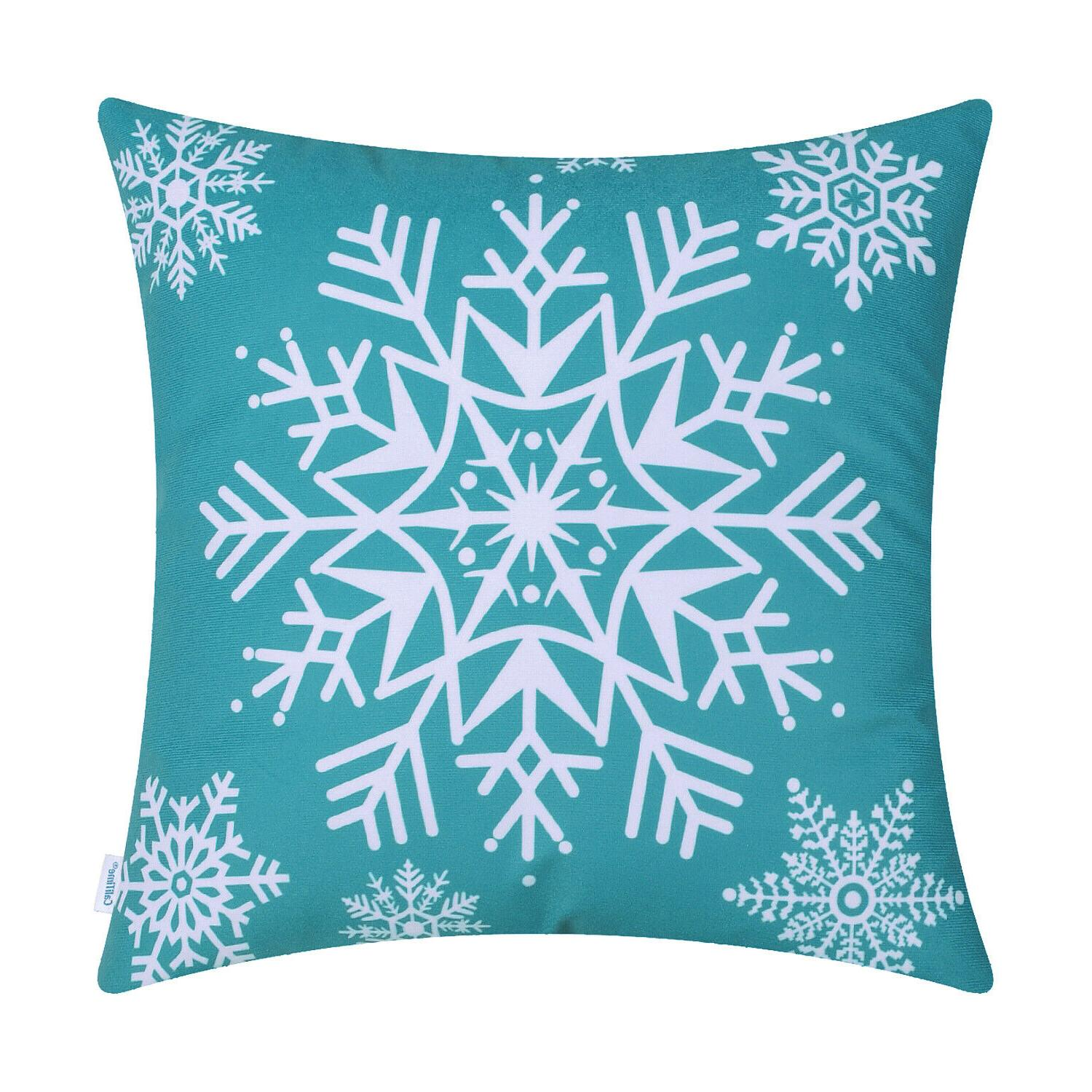 """CaliTime Cozy Pillows Covers Snowflakes Home 18x18"""""""