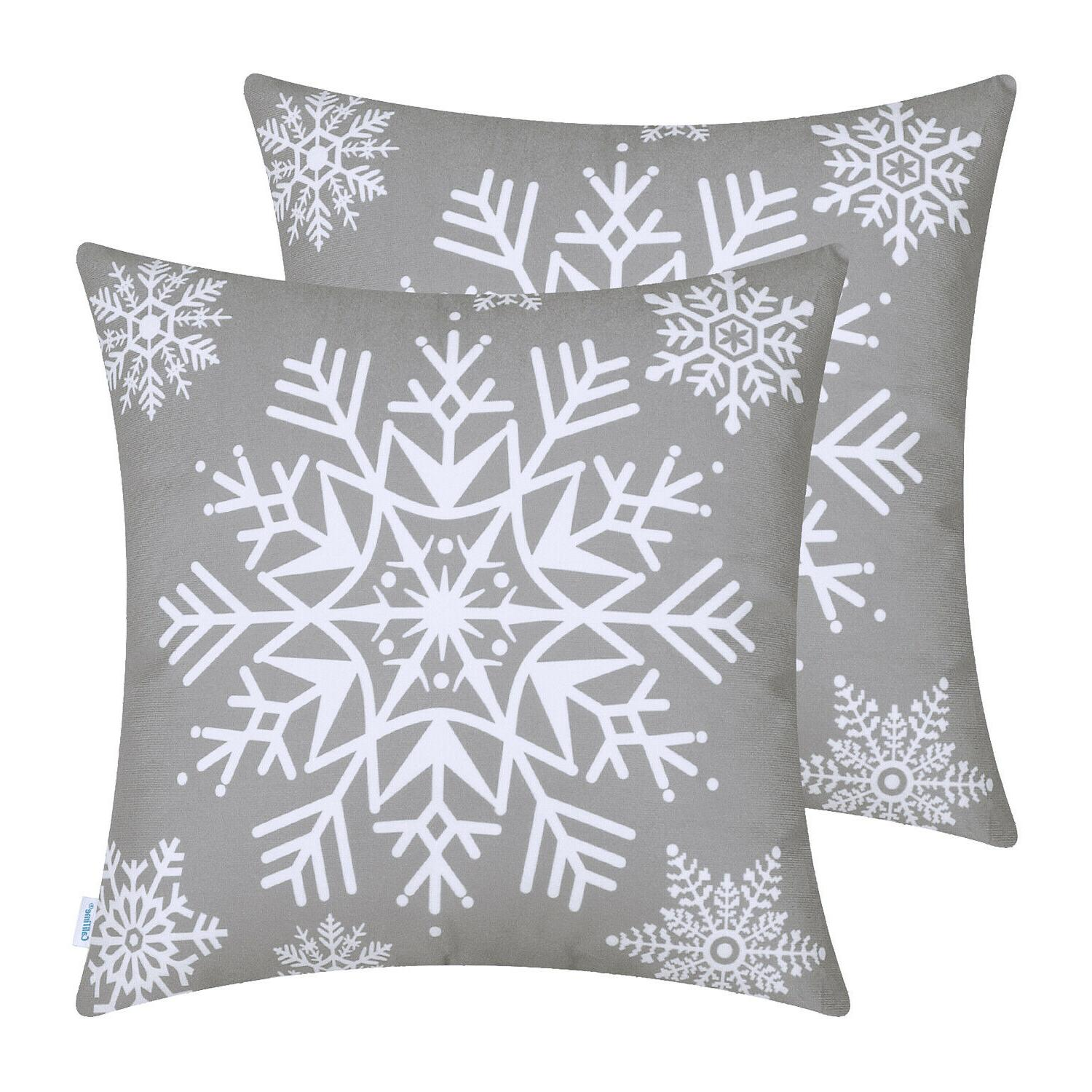 CaliTime Pillows Cases Covers Christmas Snowflakes Home
