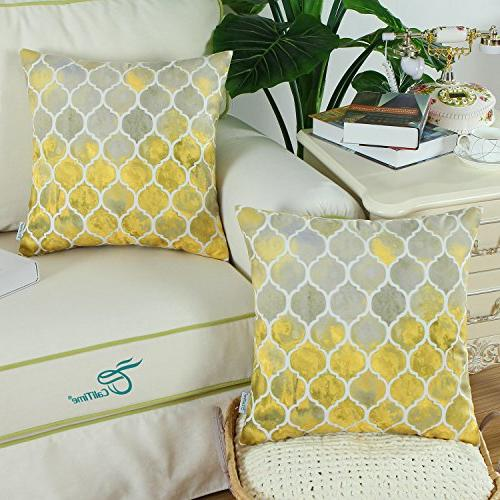 CaliTime Pack of Cozy Covers for Sofa Manual Colorful Geometric Print Inches Gold