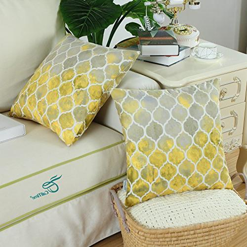 CaliTime of 2 Cozy Cases Covers for Sofa Manual Colorful Trellis Print 18 X Gold