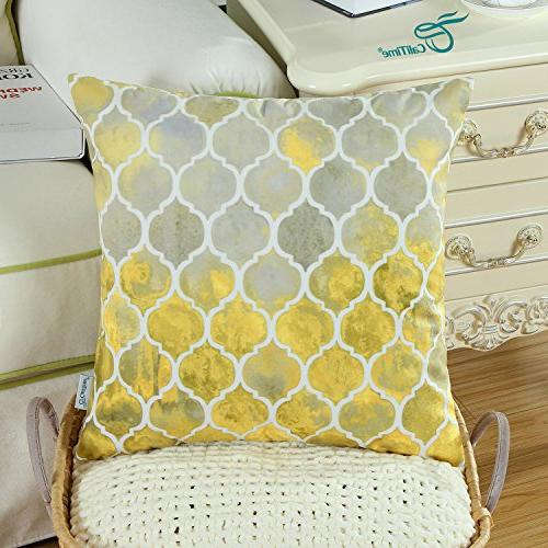 CaliTime Pack Cozy Throw Pillow Covers for Colorful Trellis Chain Print 18 Inches Main Gold