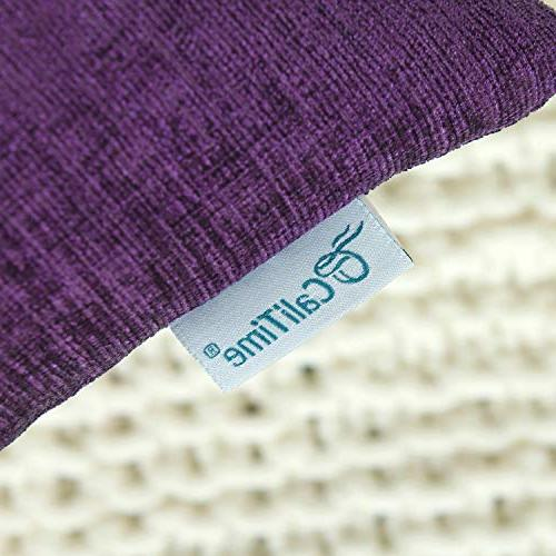 CaliTime Pack 2 Cases for Sofa Home Decoration Solid Soft 18 18 Plum Purple