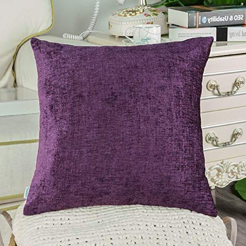 CaliTime of Cozy Pillow Cases for Home Decoration Soft 18 18 Plum