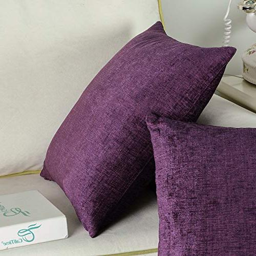 CaliTime Pack of Cozy Pillow Covers Cases Couch Sofa Home Dyed Soft Chenille X 18 Plum Purple