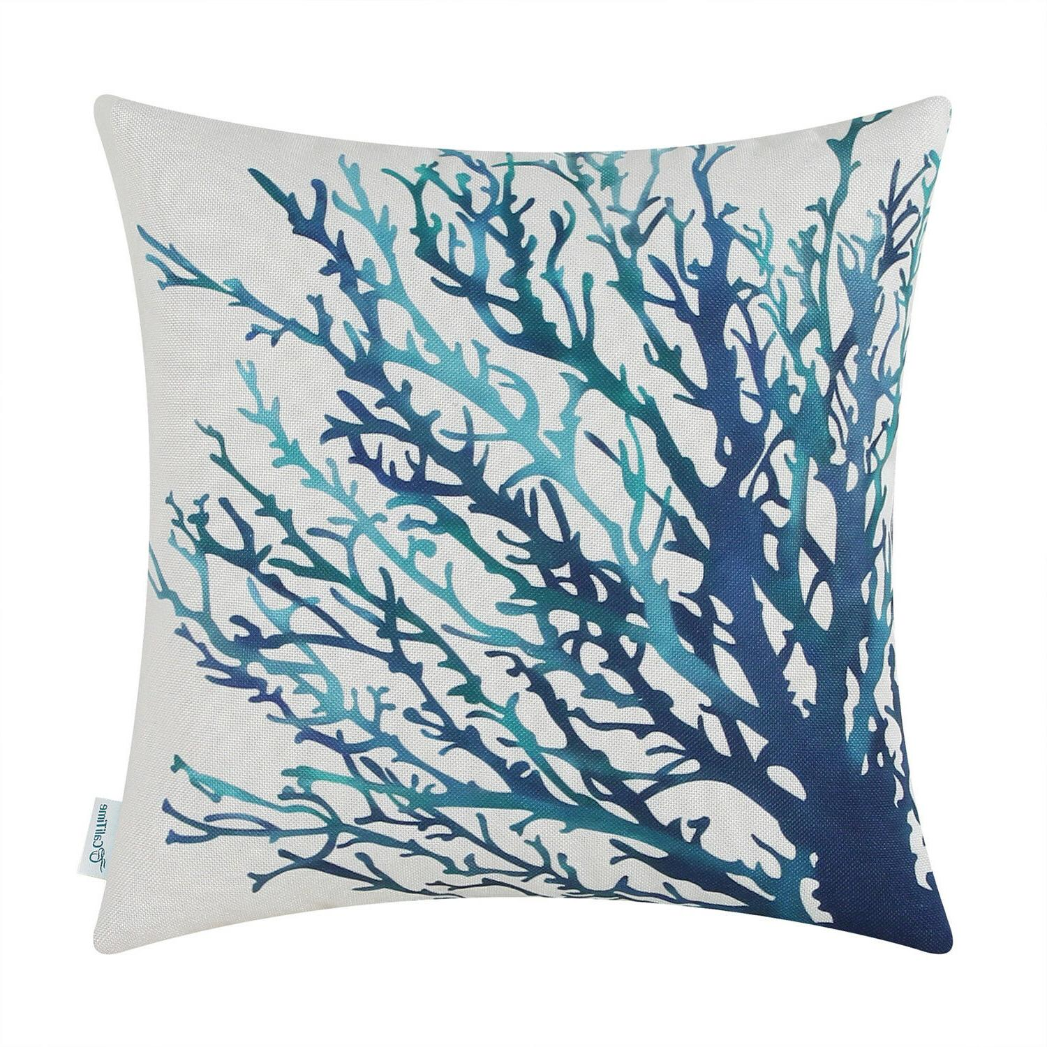 CaliTime Covers Throw Pillows Coral Aquarelle