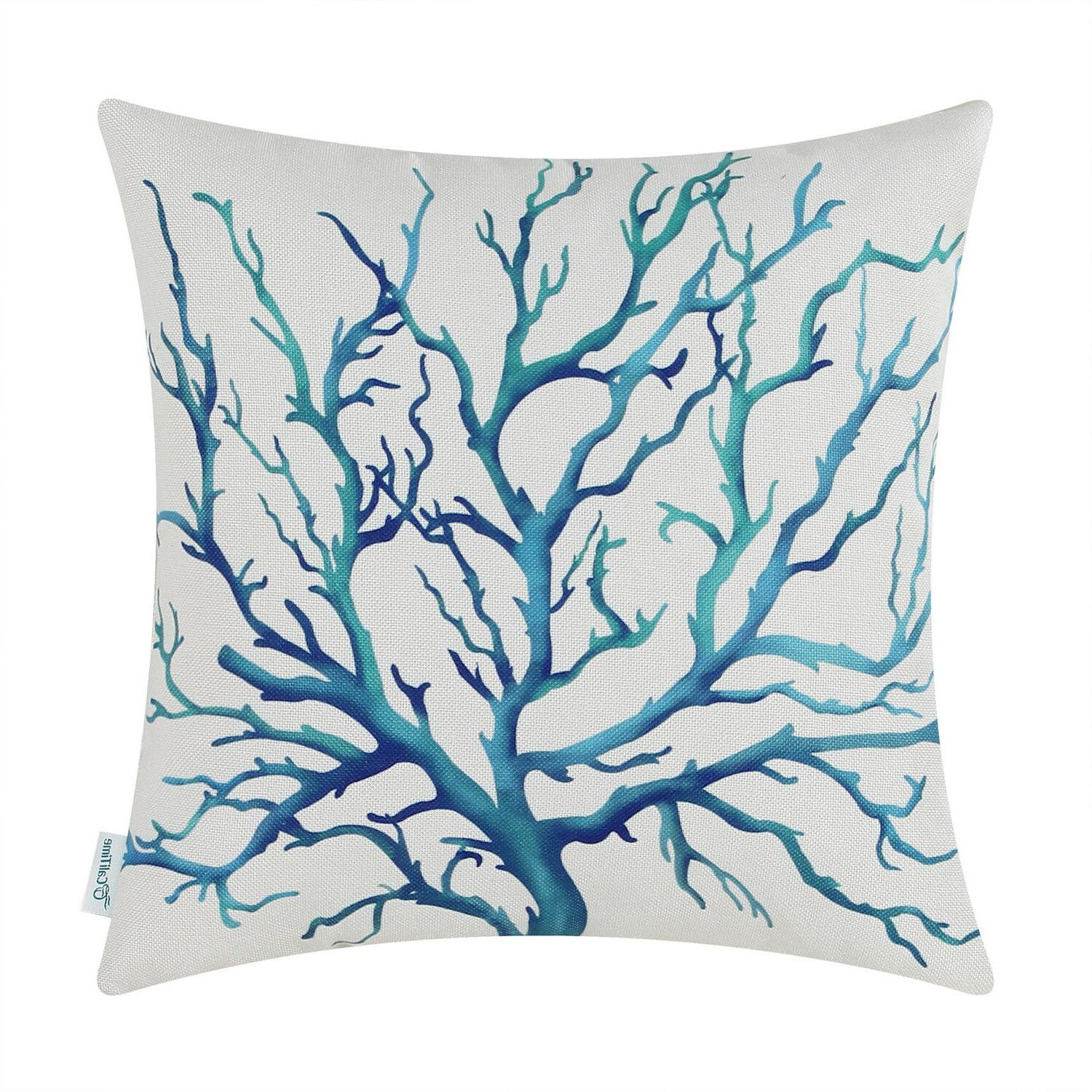 CaliTime Pillows Tree Aquarelle 18X18""