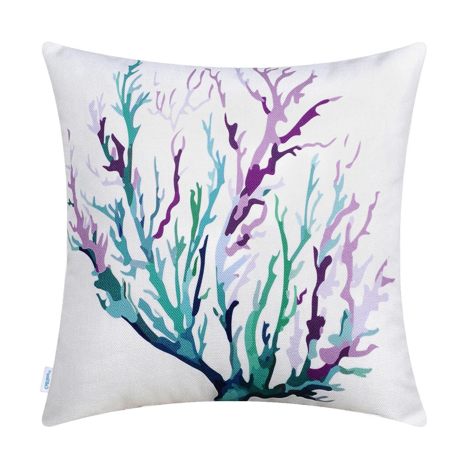 CaliTime Pillows Cases Coral Aquarelle