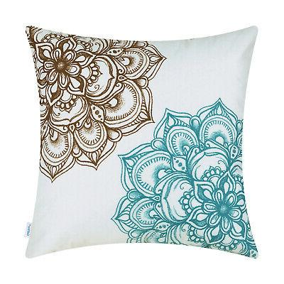 CaliTime Throw Pillows Covers Vintage Florals Soft 18X18""