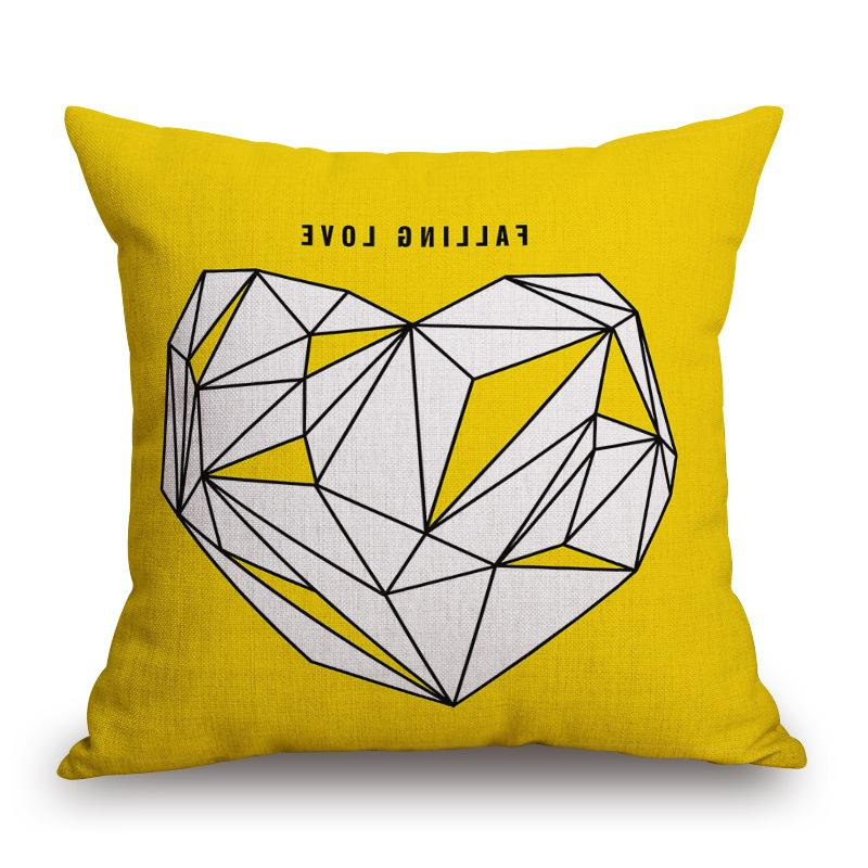 Decorative case yellow love letter cushion cover