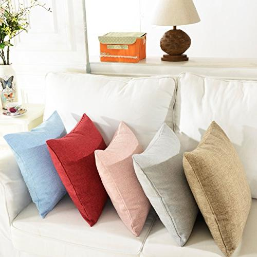 HOME BRILLIANT Lined Linen Throw Cover Pillow Bed x 18 Light Grey