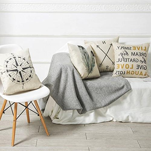 Anickal Decorative Throw Pillow Covers Cotton Linen Cushion Covers 18 Inch