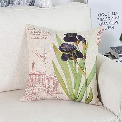 Top Finel Decorative Pillow Outdoor Cotton Linen Cushion Covers X Flower Pillowcases Set of