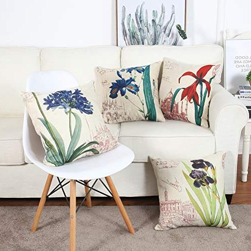 Top Pillow Outdoor Linen Covers X Flower for Sofa Set of