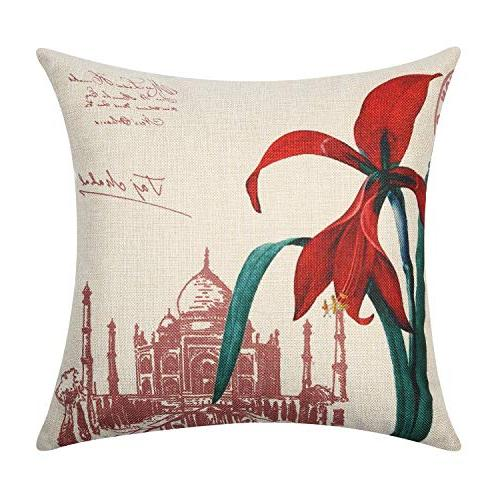 Top Finel Pillow Covers-Square X Flower for Sofa Bedroom Set