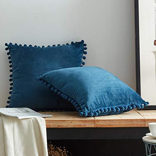 Top Pillow Covers Velvet Solid Cushion Covers Couch of 2,