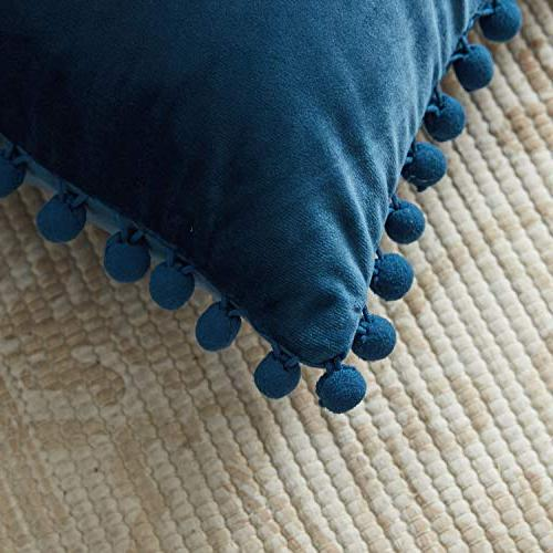 Top Finel Pillow Covers Particles Velvet Solid Cushion 20 Couch Car, of Navy