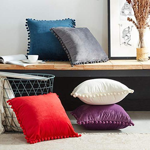 Top Decorative Pillow Covers Soft Particles Velvet 20 for Couch Bedroom of Navy